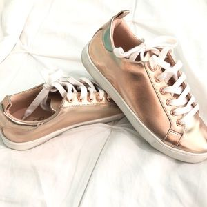 Metallic Rose Gold Lace-up Sneakers